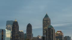 Midtown Atlanta Skyline Timelapse Dusk Pan Stock Footage