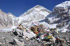 Everest View from base camp Stock Photos