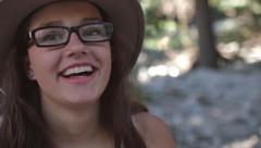 Closeup Of Girl Laughing, Candid Moment, Shot In Slow Motion Stock Footage