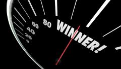 Winner Word Animated Speedometer Tracking Contest Competition Stock Footage