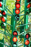 Traffic light in all combinations. Stock Photos
