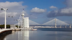Vasco da Gama Tower and Bridge, Myriad Hotel. Lisbon, Portugal Stock Footage