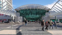 Vasco da Gama Shopping Centre entrance. Lisbon, Portugal Stock Footage