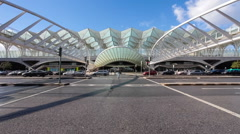 Main entrance of the Gare do Oriente. Lisbon, Portugal Stock Footage
