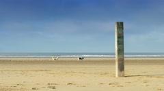 Weatherworn pillar at the beach 4K Stock Footage