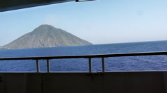 Passing close to Stromboli Volcano, Italy Stock Footage