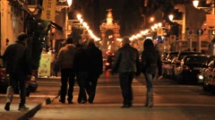 Stock Video Footage of People walking at the street in nighttime, Mexico