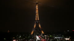 PARIS, FRANCE - NOVEMBER 2010: Eiffel tower at night, France, Paris Stock Footage
