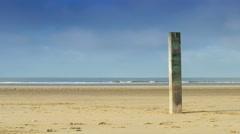 Wooden pillar at the beach 4K Stock Footage