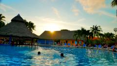 4K Resort Pool Bar at Sunset, Warm Water and Relaxation Stock Footage