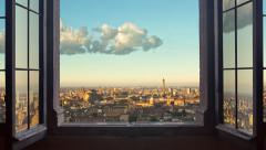 Bologna skyline panorama time lapse from day to night 4k Stock Footage