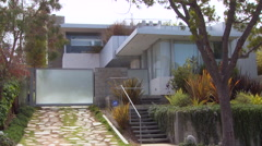 Exterior of a modern architecture house day. Stock Footage