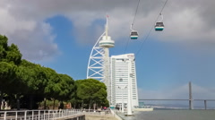Vasco da Gama Tower and Bridge, Myriad Hotel, Park of Nations. Lisbon, Portugal Stock Footage