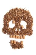 Death sign scull made of tobacco Smoking metaphor - stock photo