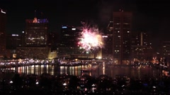 Fourth of July Fireworks in Baltimore Harbor (1) Stock Footage