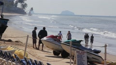 Place at the beach for rent watercraft, Mazatlan, Mexico - stock footage
