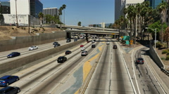 Overhead View of Traffic on Busy 10 Freeway in Downtown Los Angeles California Stock Footage