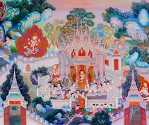Buddhist temple mural painting - stock photo