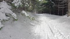 Mountain forest snow road hiking pov Stock Footage