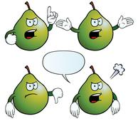 Angry pear set - stock illustration