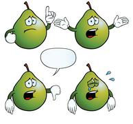 Crying pear set - stock illustration