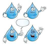 Smiling water drop set Stock Illustration