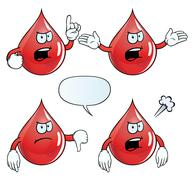 Angry blood drop set - stock illustration