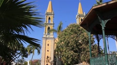Tilt down shot of Immaculate Conception Cathedral in Mazatlan, Mexico Stock Footage