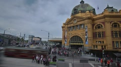 Melbourne Overlooking Flinders Station North Side Stock Footage