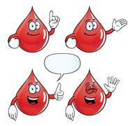 Smiling blood drop set Stock Illustration