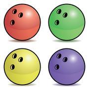 Bowling ball set - stock illustration