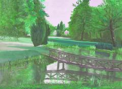 Autumn forest with a pond and bridge over the pond Stock Illustration