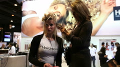 PARIS, FRANCE - NOVEMBER 2010: OMC Hair World Cup 2010. Hair stylist working. Stock Footage
