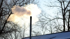 283.mp4 The smoke from the chimney. Stock Footage