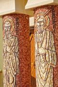 Stock Photo of Saint Paul and Saint Andrew mosaic on a Greek Catholic church column
