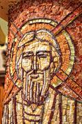 Mosaic of Saint Andrew on a column Stock Photos