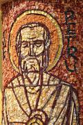 Mosaic of Saint Peter apostle on a column - stock photo