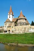 Lutheran saxon church in Transylvania - stock photo