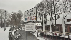 Vilnius. Winter 20 Uzupis Bridge. Pan Stock Footage