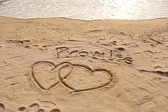 The heart shape and promise text drawn. Stock Photos