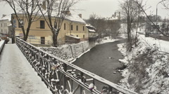 Vilnius. Winter 14 Uzupis Bridge. Pan Stock Footage
