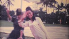Mother And Daughter On Merry Go Round-1969 Vintage 8mm film Stock Footage
