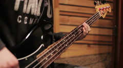 Bass guitar recording on the studio Stock Footage