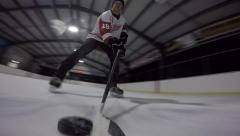 Hockey stick handling from amazing view Stock Footage