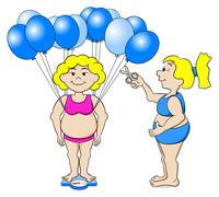 overweight woman outwits a bathroom scale with balloons - stock illustration