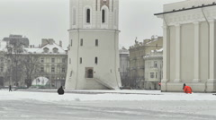 Vilnius. Cathedral Bell Tower And  Cathedral Square Stock Footage