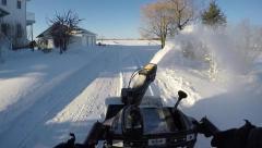 Unique view using snowblower Stock Footage
