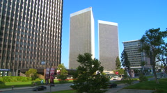 Establishing shot of boulevards and high rises of Century City, Los Angeles, Stock Footage