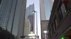 Walking by skyscrapers in Dallas Stock Footage