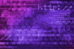 Online Internet Safety Purple Digital Background Concept. - stock illustration